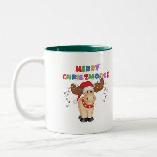Funny Reindeer Christmas Gift Two-Tone Coffee Mug
