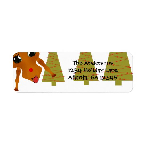 Funny Reindeer Christmas Return Address Custom Return Address Labels