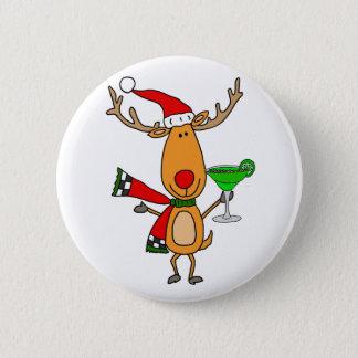 Funny Reindeer Drinking Margarita Christmas Art Pinback Button