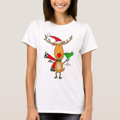 Funny Reindeer Drinking Margarita Christmas Art T-Shirt