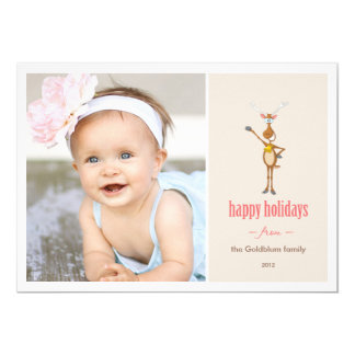 "Funny Reindeer Holiday Photo Card. 5"" X 7"" Invitation Card"