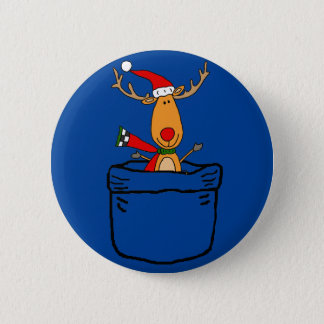 Funny Reindeer in a Pocket Christmas Cartoon Pinback Button