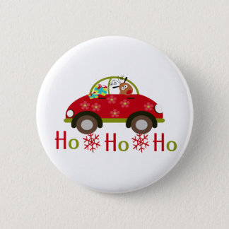 Funny Reindeer in car Christmas HO HO HO Button