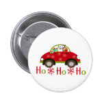 Funny Reindeer in car Christmas HO HO HO Buttons