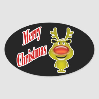 """Funny reindeer """"Merry Christmas"""" cute Oval Sticker"""