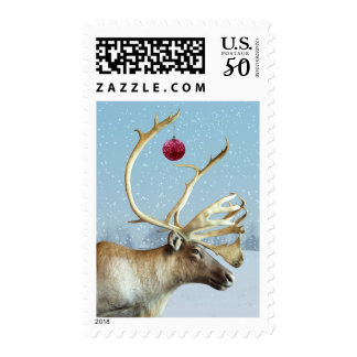Funny Reindeer Ornament Christmas postage stamps