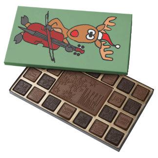 Funny Reindeer Playing Cello Christmas 45 Piece Box Of Chocolates