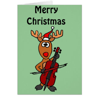 Funny Reindeer Playing Cello Christmas Card