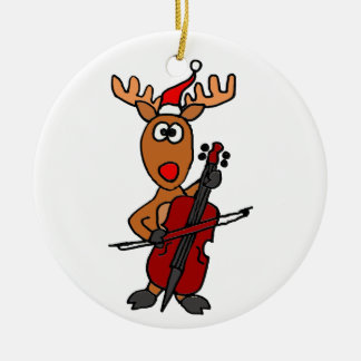 Funny Reindeer Playing Cello Christmas Ceramic Ornament