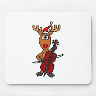Funny Reindeer Playing Cello Christmas Mouse Pad