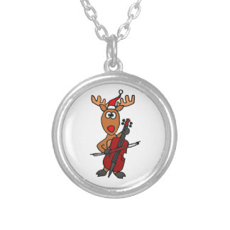 Funny Reindeer Playing Cello Christmas Silver Plated Necklace
