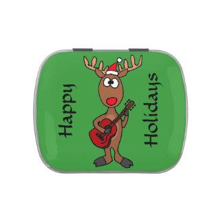 Funny Reindeer Playing Guitar Candy Tin