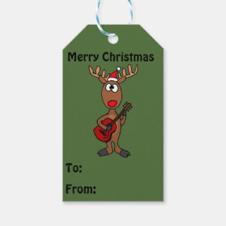 Funny Reindeer Playing Guitar Gift Tags