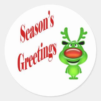 "Funny Reindeer ""Season's Greetings"" Classic Round Sticker"