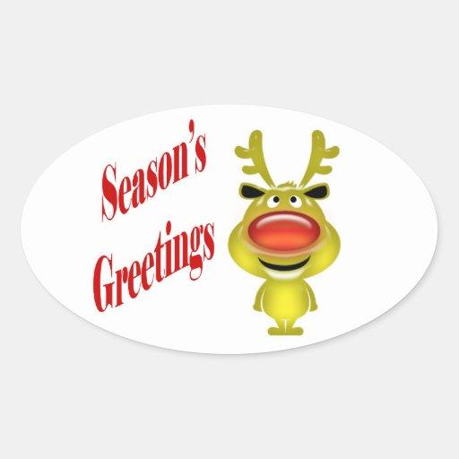 """Funny reindeer """"Season's Greetings"""" cute Oval Sticker"""