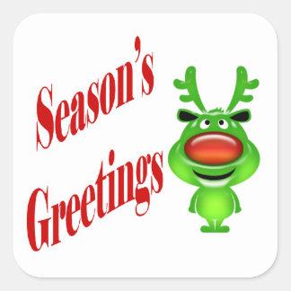 "Funny reindeer ""Season's Greetings"" red Square Sticker"