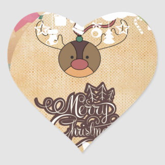 Funny reindeer Vintage style christmas Heart Sticker