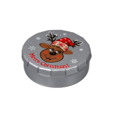 Funny Reindeer With Red Christmas Hat Jelly Belly Tin