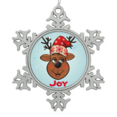 Funny Reindeer With Santa Hat Snowflake Pewter Christmas Ornament
