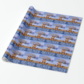 Funny reindeer wrapping paper