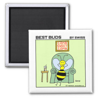 Funny Relaxing Bee Best Buds Gardening Cartoon 2 Inch Square Magnet
