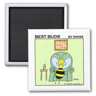 Funny Relaxing Bee Gardening Cartoon Fridge Fridge Magnets