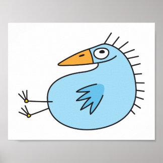 Funny relaxing blue bird cute animal cartoon print
