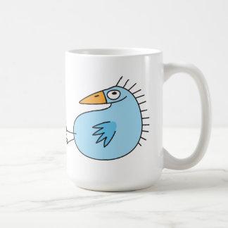 Funny relaxing blue bird cute cartoon coffee mug