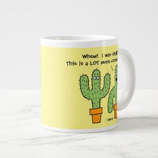 Funny Relaxing Potted Cactus Cartoon Jumbo Mug