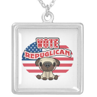 Funny Republican Presidential Election Square Pendant Necklace