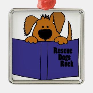 Funny Rescue Dog Reading Rescue Book Metal Ornament