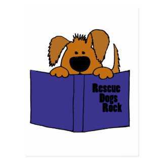 Funny Rescue Dog Reading Rescue Book Post Cards