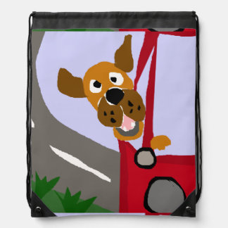 Funny Rescue Dog Riding in Red Car Art Backpack