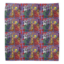 Funny Rescue Dogs and Cats Love Abstract Bandana