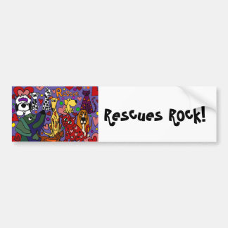 Funny Rescue Pets Love Abstract Art Car Bumper Sticker