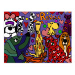 Funny Rescue Pets Love Abstract Art Postcard