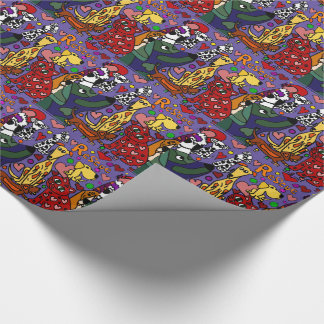 Funny Rescue Pets Love Abstract Art Wrapping Paper