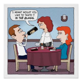 Funny Restaurant Wine Chugger Poster