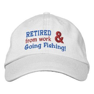 Funny Retired and Going Fishing Custom Name V01 Embroidered Baseball Hat