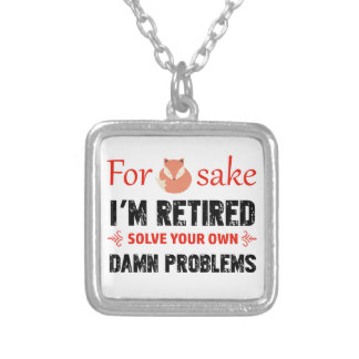 Funny Retired designs Silver Plated Necklace