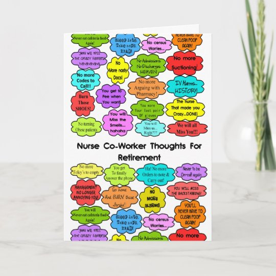 Funny Retired Nurse Gifts Co-Worker Thoughts Card | Zazzle.com