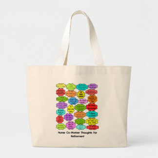 Funny Retired Nurse Gifts Co-Worker Thoughts Jumbo Tote Bag