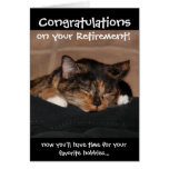 Funny Retirement Card, Napping Calico Cat Greeting Card