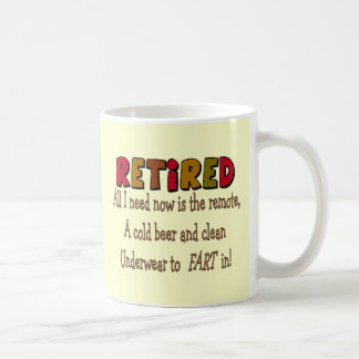 "Funny Retirement  Gifts ""Cold Beer, Remote, Fart"" Coffee Mug"