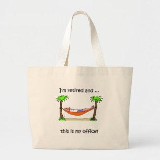Funny retirement humor large tote bag