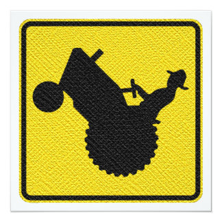 Funny Retirement Party Old  Farmer on Tractor Sign 5.25x5.25 Square Paper Invitation Card