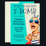 """Funny Retro 40th Birthday F-Bomb Invitation<br><div class=""""desc"""">A unique 40th Birthday Party Invitation for the ladies, this design features an outrageously stylish woman in striped sunglasses and hair turban with a polka dot bag and striped towel. The humor is carried out in the bold text title """"FORTY IS THE NEW F-BOMB"""". The retro color scheme of aqua,...</div>"""