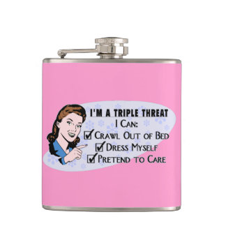 Funny Retro 50's Sarcastic Woman: Triple Threat Flask