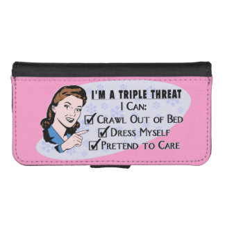 Funny Retro 50's Sarcastic Woman: Triple Threat iPhone SE/5/5s Wallet