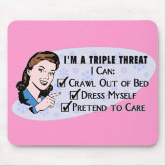 Funny Retro 50's Sarcastic Woman: Triple Threat Mouse Pad